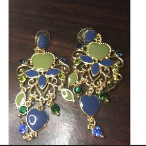 Jewelry - Vintage style blue and green hearts earrings